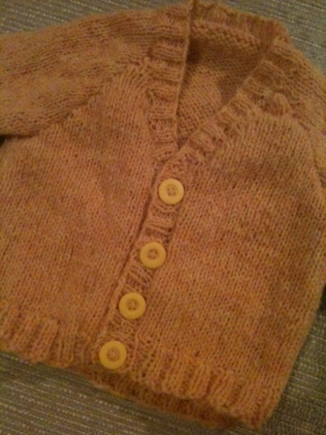 The finished buttercup cardigan